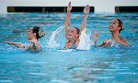 STANFORD, CA - FEBRUARY 12, 2011: Corinne Smith, Koko Urata, and Wendy Lu at Avery Aquatic Center against Arizona, February 12, 2011 in Stanford, California.