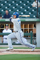 Jake Bauers (11) of the Durham Bulls follows through on his swing against the Charlotte Knights at BB&T BallPark on May 15, 2017 in Charlotte, North Carolina. The Knights defeated the Bulls 6-4.  (Brian Westerholt/Four Seam Images)