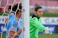 Sky Blue FC goalkeeper Jenni Branam (23) sets up the defense for a corner kick. The Philadelphia Independence and Sky Blue FC played to a 2-2 tie during a Women's Professional Soccer (WPS) match at Yurcak Field in Piscataway, NJ, on April 10, 2011.