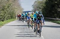 peloton cruising through the Ardennes with Team Movistar setting the pace (for race favourite Alejandro Valverde (ESP/Movistar team)<br /> <br /> 103rd Liège-Bastogne-Liège 2017 (1.UWT)<br /> One Day Race: Liège › Ans (258km)