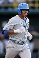 Kevin Williams #5 of the UCLA Bruins runs the bases against the TCU Horned Frogs at the Los Angeles super regionals at Jackie Robinson Stadium on June 9, 2012 in Los Angeles,California. UCLA defeated TCU 4-1.(Larry Goren/Four Seam Images)