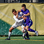 5 October 2019: University of Vermont Catamount Defender Arnar Steinn Hansson, a Senior from Garðabær, Iceland, in action against University at Albany Great Dane Forward Bjarki Ragnar, a Sophomore from Reykjavik, Iceland, on Virtue Field in Burlington, Vermont. The Catamounts fell to the visiting Danes 3-1 in America East, Division 1 play. Mandatory Credit: Ed Wolfstein Photo *** RAW (NEF) Image File Available ***
