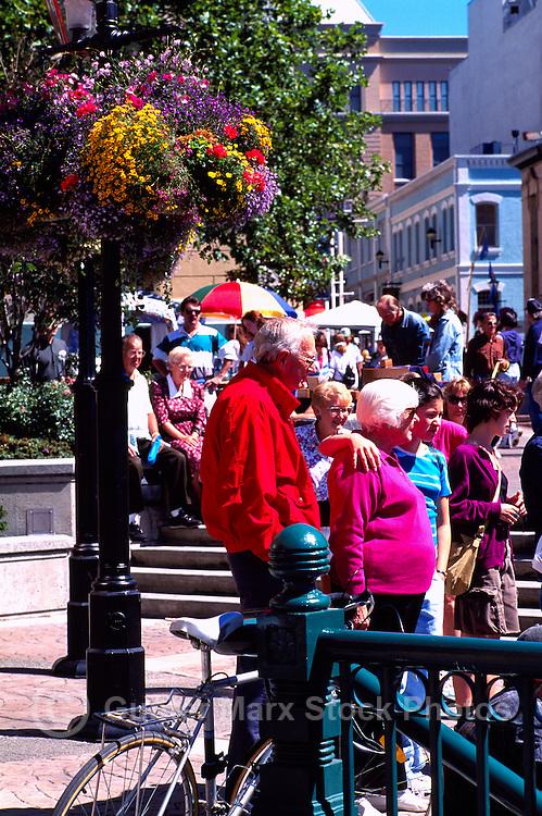 Tourists at the Public Market at Bastion Square in Victoria, Vancouver Island, British Columbia, Canada