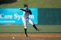 Kannapolis Intimidators second baseman Mitch Roman (10) makes a throw to first base against the Lakewood BlueClaws at Kannapolis Intimidators Stadium on April 9, 2017 in Kannapolis, North Carolina.  The BlueClaws defeated the Intimidators 7-1.  (Brian Westerholt/Four Seam Images)