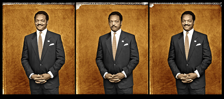 Reverand Jesse Jackson in three seperate 4 X 5 exposures taken seconds apart..Jackson, a long time civil rights activist who was standing next to Dr. Martin Luther King Jr., made several runs for U.S. president..He formed the Rainbow Coalition.