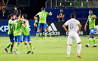 CARSON, CA - SEPTEMBER 27: Jordan Morris #13 of the Seattle Sounders scores a goal and celebrates with teammate Will Bruin #17 during a game between Seattle Sounders FC and Los Angeles Galaxy at Dignity Heath Sports Park on September 27, 2020 in Carson, California.