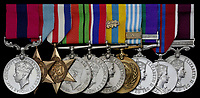 BNPS.co.uk (01202 558833)<br /> Pic:  Spink&Son/BNPS<br /> <br /> Regimental Sergeant Major William 'Bill' Gilchrist's medals<br /> <br /> The extraordinary exploits of a hero officer who was part of legendary rearguards at Dunkirk and Arnhem can be revealed after his bravery medals emerged for sale.<br /> <br /> Regimental Sergeant Major William 'Bill' Gilchrist, of the Irish Guards, took out a German tank which was advancing towards Dunkirk, causing it to explode into flames.<br /> <br /> He stayed at his post until all his ammunition had run out and his anti tank gun jammed from over-firing. During his defiant stand, Sgt Maj Gilchrist was shot three times through the helmet. But he refused to retreat despite relentless German machine gun fire.<br /> <br /> Sgt Maj Gilchrist was also part of the relieving force which came to the aid of the Allied airborne divisions who captured 'The Bridge Too Far' in the Netherlands in September 1944.<br /> <br /> His medal group, including a prestigious Distinguished Conduct Medal, is being sold by his family with auction house Spink & Son, of London. It is expected to fetch £5,000.