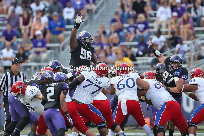 TCU Horned Frogs defensive tackle Chucky Hunter (96) in action during the game between the Kansas Jayhawks and the TCU Horned Frogs  at the Amon G. Carter Stadium in Fort Worth, Texas. TCU defeats Kansas 27 to 17.