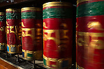 24 MAY 2015, McLeod Ganj, Himachal Pradesh, INDIA:  Prayer wheels at a Buddhist temple in McLeod Ganj - the Indian home of the exiled Tibetan leader the Dalai Lama.   Picture by Graham Crouch/The Australian Magazine