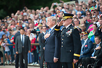 President Donald J. Trump and Maj. Gen. Michael Howard, commanding general, U.S. Army Military District of Washington render honors during a Presidential Armed Forces Full Honors Wreath-Laying Ceremony at Arlington National Cemetery, Arlington, Va., May 29, 2017.  Trump also spoke at the Memorial Amphitheater.  (U.S. Army photo by Elizabeth Fraser / Arlington National Cemetery / released)