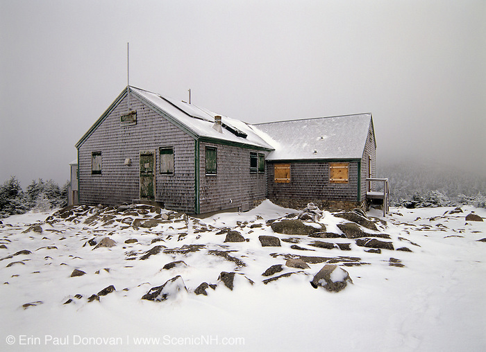 Greenleaf Hut in whiteout conditions. This hut is located along Greenleaf trail near Mount Lafayette in the White Mountain National Forest of New Hampshire USA. On a clear day Mount Lafayette can be see in the background.