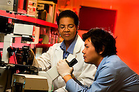The Charlotte Research Institute at University of North Carolina Charlotte is home to the Center for Bioinformatics, the Center for Biomedical Engineering and a center on Nanotechnology. The Charlotte Research Institute facilitates partnerships between UNC Charlotte's applied research programs and government agencies, industry and academia. Photos were taken in laboratories in UNC Charlotte's bioinformatics program, which is a joint effort by scientists within the UNC Charlotte departments of chemistry, biology, computer sciences and mathematics. North Carolina is one of the nation's largest biotechnology industry states.