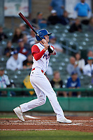 Stockton Ports catcher Jonah Heim (13) follows through on his swing during a California League game against the Rancho Cucamonga Quakes at Banner Island Ballpark on May 16, 2018 in Stockton, California. Rancho Cucamonga defeated Stockton 6-3. (Zachary Lucy/Four Seam Images)
