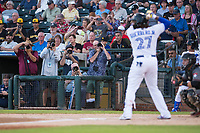 Photographers and fans watch AFL West third baseman Vladimir Guerrero Jr. (27), of the Surprise Saguaros and Toronto Blue Jays organization, at bat during the Fall Stars game at Surprise Stadium on November 3, 2018 in Surprise, Arizona. The AFL West defeated the AFL East 7-6 . (Zachary Lucy/Four Seam Images)