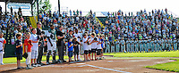 2 July 2011: Members of the Burlington American Little League stand with players and umpires during the National Anthem at a game between the Vermont Lake Monsters and the Tri-City ValleyCats at Centennial Field in Burlington, Vermont. The Lake Monsters rallied from a 4-2 deficit to defeat the ValletCats 7-4 in NY Penn League action. Mandatory Credit: Ed Wolfstein Photo