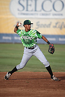Aramis Ademan (15) of the Eugene Emeralds throws to first base during a game against the Salem-Keizer Volcanoes at Volcanoes Stadium on July 24, 2017 in Keizer, Oregon. Eugene defeated Salem-Keizer, 7-6. (Larry Goren/Four Seam Images)