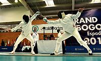 BOGOTA – COLOMBIA – 26 – 05 – 2017: Sergei Bida (Izq.) de Rusia combate con Nadirbek Usmanov (Der.) de Uzbekistan, durante Varones Mayores Epee del Gran Prix de Espada Bogota 2017, que se realiza en el Centro de Alto Rendimiento en Altura, del 26 al 28 de mayo del presente año en la ciudad de Bogota.  / Sergei Bida (L) from Russia, fights with Nadirbek Usmanov (R) from Uzbekistan, during Senior Men´s Epee of the Grand Prix of Espada Bogota 2017, that takes place in the Center of High Performance in Height, from the 26 to the 28 of May of the present year in The city of Bogota.  / Photo: VizzorImage / Luis Ramirez / Staff.
