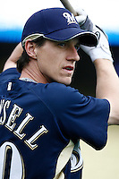 Craig Counsell of the Milwaukee Brewers during batting practice before a game from the 2007 season at Dodger Stadium in Los Angeles, California. (Larry Goren/Four Seam Images)