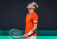 The Hague, The Netherlands, September 15, 2017,  Sportcampus , Davis Cup Netherlands - Chech Republic, First rubber: Thiemo de Bakker (NED) shows his emotion<br /> Photo: Tennisimages/Henk Koster