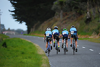 Palmerston North Intermediate year 7 and 8 boys in action during the NZ Schools Road Cycling championship day one team time trials at Koputaroa Road, Levin, New Zealand on Saturday, 27 September 2014. Photo: Dave Lintott / lintottphoto.co.nz