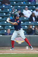 Carlos Tovar (11) of the Salem Red Sox at bat against the Winston-Salem Dash at BB&T Ballpark on April 21, 2018 in Winston-Salem, North Carolina.  The Dash walked-off the Red Sox 4-3.  (Brian Westerholt/Four Seam Images)