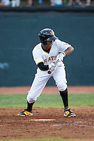 Bealyn Chourio (31) of the Bristol Pirates lays down a bunt against the Burlington Royals at Boyce Cox Field on July 10, 2015 in Bristol, Virginia.  The Pirates defeated the Royals 9-4. (Brian Westerholt/Four Seam Images)