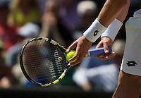 England, London, Juli 04, 2015, Tennis, Wimbledon, Hands holding racket and ball before service<br /> Photo: Tennisimages/Henk Koster