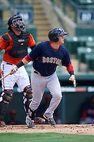 GCL Red Sox left fielder Raiwinson Lameda (17) at bat in front of catcher Ronald Soto (31) during a game against the GCL Orioles on August 16, 2016 at the Ed Smith Stadium in Sarasota, Florida.  GCL Red Sox defeated GCL Orioles 2-0.  (Mike Janes/Four Seam Images)