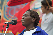 Sarah Awodja, of Kenyan Textile Workers' Union and Play Fair Campaign, addresses a TUC May Day rally in Trafalgar Square, London.