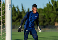 KASHIMA, JAPAN - AUGUST 4: Adrianna Franch #18 of the USWNT looks to the ball during a training session at the practice field on August 4, 2021 in Kashima, Japan.