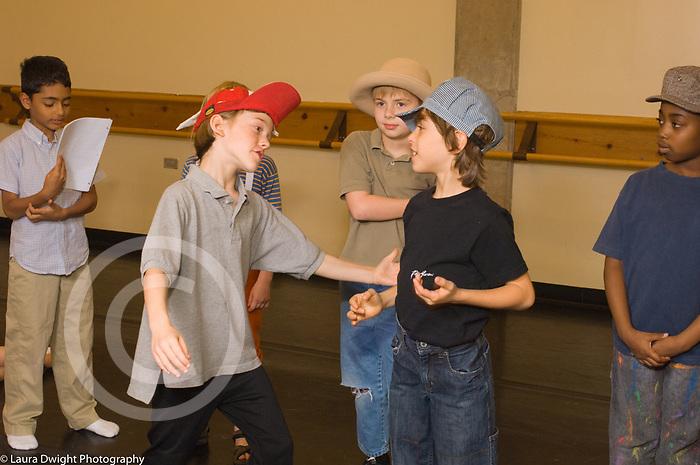 Education Elementary School Grade 2 children rehearsing play for English Language Arts (ELA)