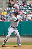 Matt Clark (4) of the Binghamton Mets bats during a game against the New Britain Rock Cats at New Britain Stadium on June 1, 2014 in New Britain, Connecticut.  New Britain defeated Binghamton 6-1.   (Gregory Vasil/Four Seam Images)
