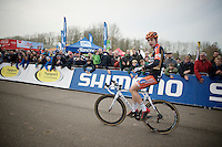 race winner Wout Van Aert (BEL/Vastgoedservice-Golden Palace) after crossing the finish line victoriously<br /> <br /> Koksijde CX World Cup 2014