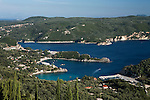 Greece, Corfu, Paleokastritsa: Panorama over resort and coves