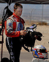 Apr 9, 2006; Las Vegas, NV, USA; NHRA Funny Car racer Robert Hight, driver of the Auto Club Ford Mustang after losing in the first round of eliminations at the Summitracing.com Nationals at Las Vegas Motor Speedway in Las Vegas, NV. Mandatory Credit: Mark J. Rebilas