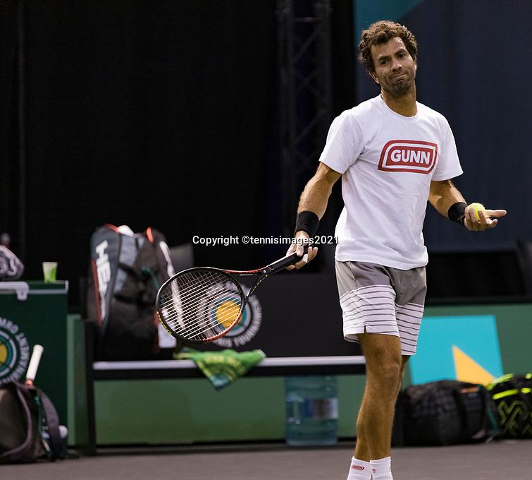 Rotterdam, The Netherlands, 2 march  2021, ABNAMRO World Tennis Tournament, Ahoy, Practice: Jean Julien Roger<br /> Photo: www.tennisimages.com/henkkoster