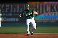 Charlotte 49ers second baseman Brett Netzer (9) on defense against the North Carolina State Wolfpack at BB&T Ballpark on March 29, 2016 in Charlotte, North Carolina. The Wolfpack defeated the 49ers 7-1.  (Brian Westerholt/Four Seam Images)