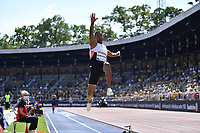 4th July 2021; Stockholm Olympic Stadium, Stockholm, Sweden; Diamond League Grand Prix Athletics, Bauhaus Gala;  Juan Miguel Echevarria of Cuba competes during the mens long jump at the Stockholm Diamond League meeting in Stockholm, Sweden, on July 4, 2021
