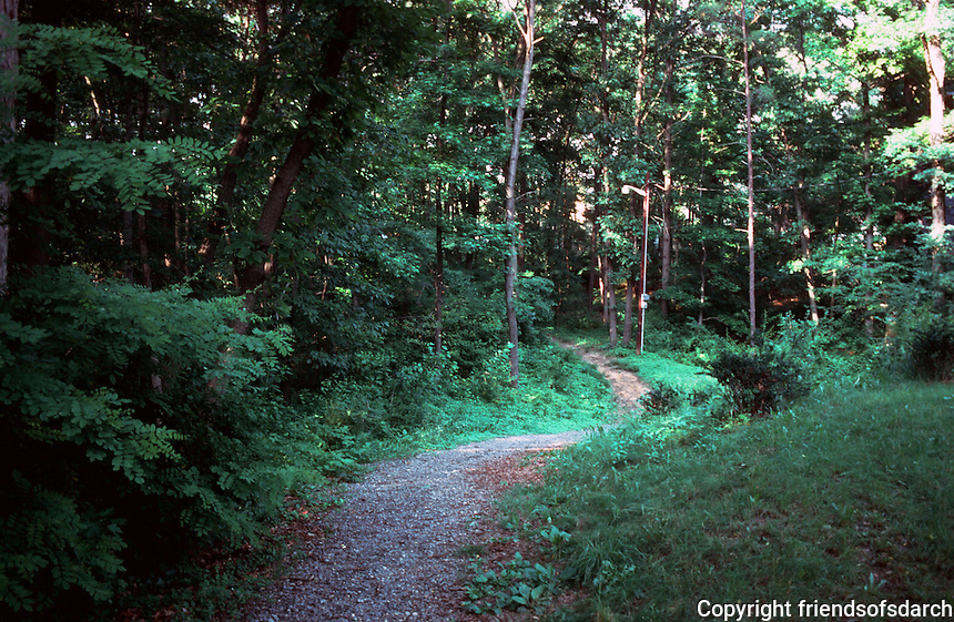 Greenbelt:  Park Preserve--lush trees and greenery, lighted paths.  Photo /85.