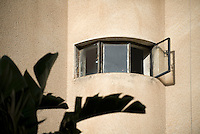 A window detail of a Bauhaus style building at 134 Rothschild Boulevard. Tel Aviv is known as the White City in reference to its collection of 4,000 Bauhaus style buildings, the largest number in any city in the world. In 2003 the Bauhaus neighbourhoods of Tel Aviv were placed on the UNESCO World Heritage List. ..