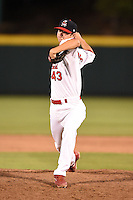 Springfield Cardinals pitcher Joey Donofrio (43) delivers a pitch during a game against the Frisco Rough Riders on June 1, 2014 at Hammons Field in Springfield, Missouri.  Springfield defeated Frisco 3-2.  (Mike Janes/Four Seam Images)