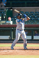 Surprise Saguaros catcher Meibrys Viloria (9), of the Kansas City Royals organization, at bat during an Arizona Fall League game against the Scottsdale Scorpions at Scottsdale Stadium on October 26, 2018 in Scottsdale, Arizona. Surprise defeated Scottsdale 3-1. (Zachary Lucy/Four Seam Images)