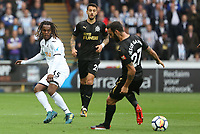 Renato Sanches of Swansea City, is marked by Jesus Gamez of Newcastle United during the Premier League match between Swansea City and Newcastle United at The Liberty Stadium, Swansea, Wales, UK. Sunday 10 September 2017