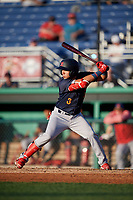 State College Spikes Jonatan Machado (3) at bat during a NY-Penn League game against the Batavia Muckdogs on July 1, 2019 at Dwyer Stadium in Batavia, New York.  Batavia defeated State College 5-4.  (Mike Janes/Four Seam Images)