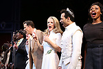 """Will Chase, Kelli O'Hara, Corbin Bleu and Adrienne Walker during the Broadway Opening Night Curtain Call for """"Kiss Me, Kate""""  at Studio 54 on March 14, 2019 in New York City."""