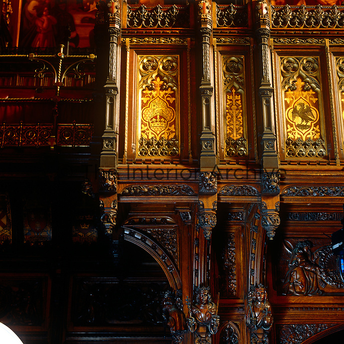 Detail of the luxuriant carving on the Press Gallery in the House of Lords, which is situated opposite the throne