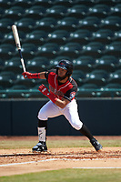Miguel Aparicio (5) of the Hickory Crawdads follows through on his swing against the Lakewood BlueClaws at L.P. Frans Stadium on April 28, 2019 in Hickory, North Carolina. The Crawdads defeated the BlueClaws 10-3. (Brian Westerholt/Four Seam Images)
