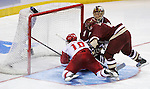 Junior forward Robbie Earl scores the first of two goals against Boston College sophomore goalie Cory Schneider.