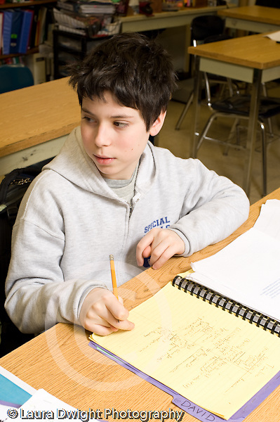 Public Middle School Grade 8 male student in class vertical