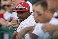 South Carolina CF Jackie Bradley Jr watches Game Two of the NCAA Division One Men's College World Series Finals on June 29th, 2010 at Johnny Rosenblatt Stadium in Omaha, Nebraska.  (Photo by Andrew Woolley / Four Seam Images)